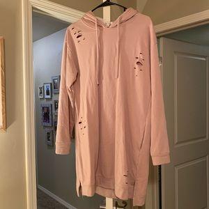 NWOT Destroyed hoodie dress